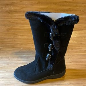White Mountain Tramway Mid-Calf Boots Black Suede